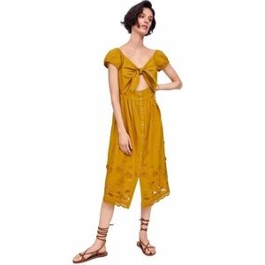 ZARA Embroidered Midi Dress | Mustard Yellow